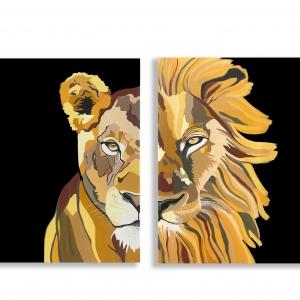 סט ציורים לביאה ואריה (רקע שחור)