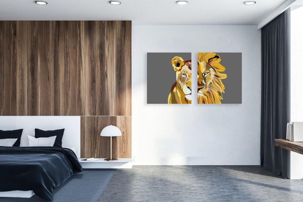 ציורים לבית - סט אריה ולביאה