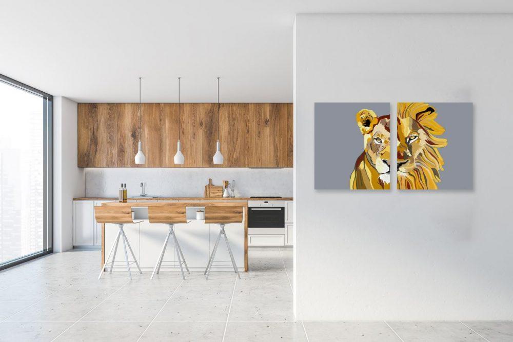 ציורים למטבח - לביאה ואריה