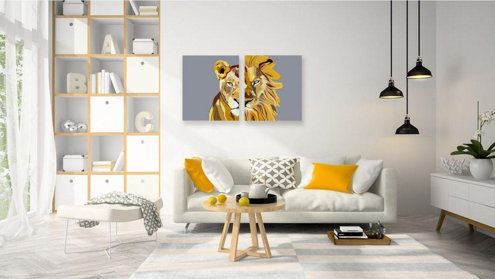 ציורים לסלון - לביאה ואריה