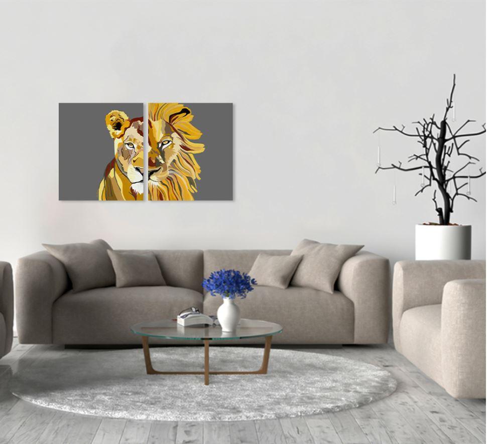 סט ציורים - אריה ולביאה