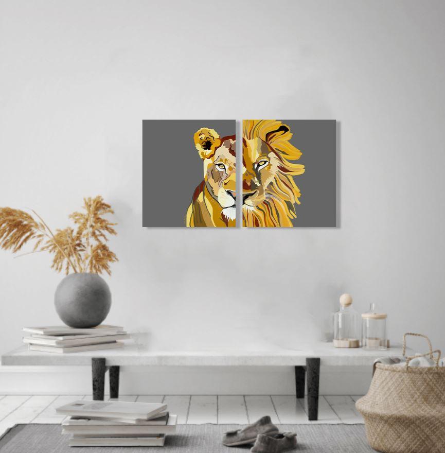ציורים למכירה - אריה ולביאה