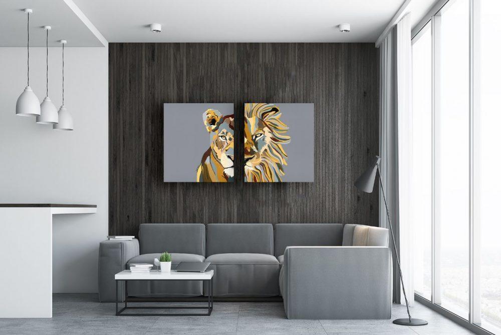ציורים צבעוניים לסלון