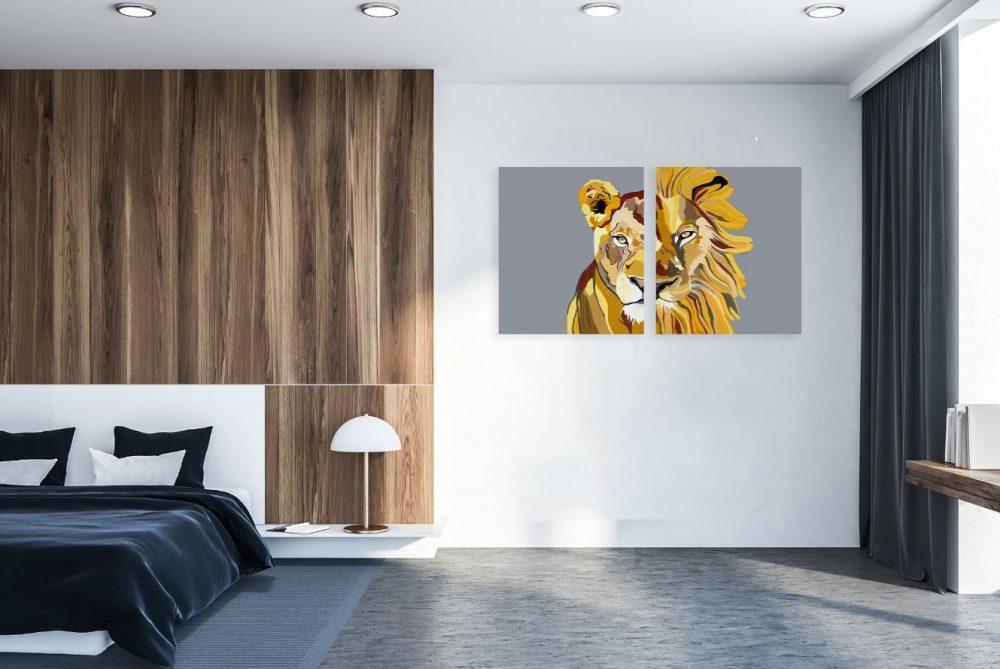 ציורים למכירה - לביאה ואריה