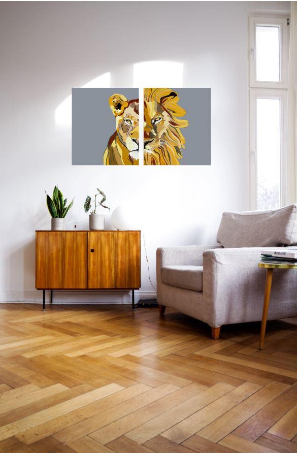 ציורים על קנבס - לביאה ואריה