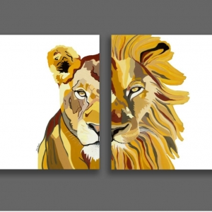 Lioness & Lion Set Paintings (white)