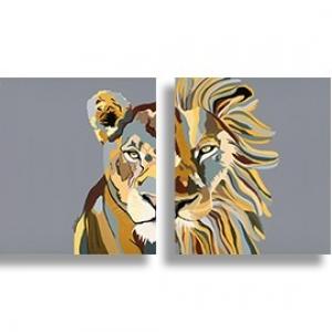 סט ציורים לביאה ואריה (רקע אפור)
