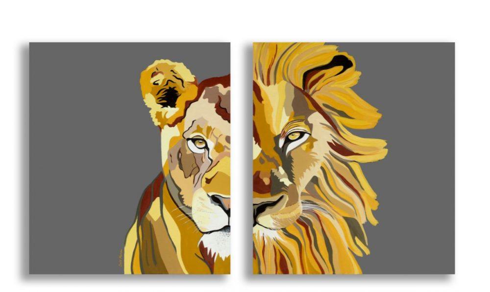 ציורים לסלון - אריות